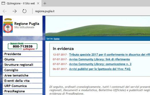 La Regione Puglia al primo posto nella trasparenza dei siti web