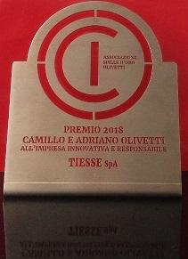 A Tiesse S.p.A il premio  Impresa Innovativa e Responsabile 2018