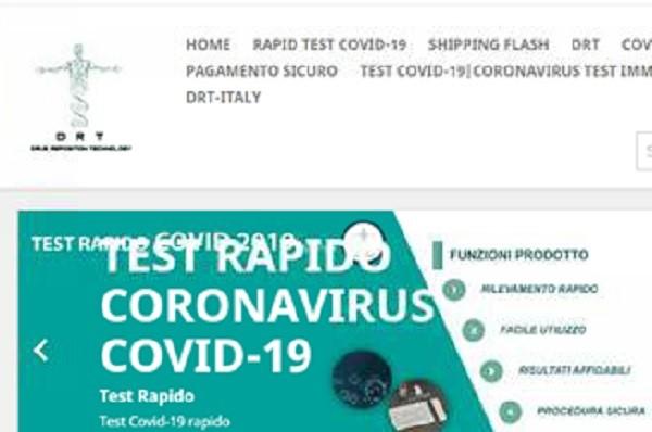 Disposto oscuramento del sito che commercializza un test per l'autodiagnosi da Covid-19